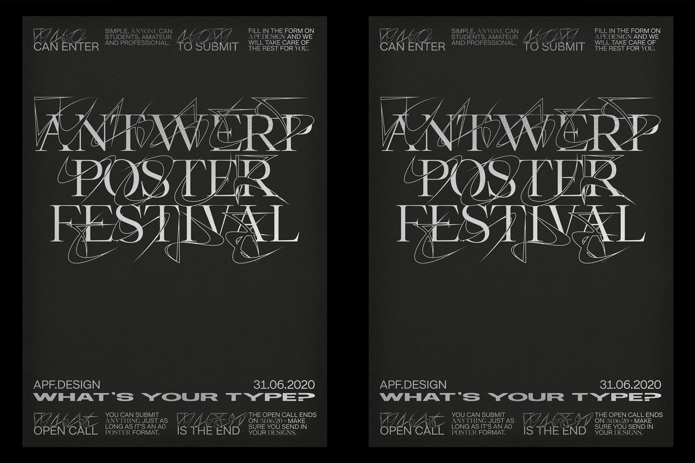 07 collide24 typelab studio ssnn antwerp poster festival - This year's identity of The Antwerp Poster Festival by ssnn and Typelab showcases experimental type design