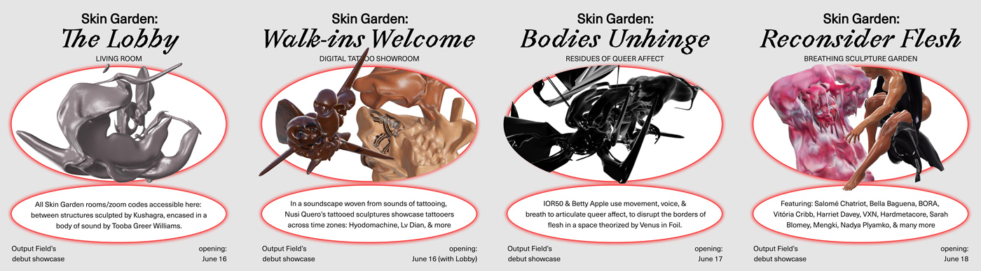 06 collide24 Output Field Skin Garden - Output Field presents Skin Garden, a virtual exhibition about bodies positioned against the current landscape of CG art